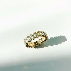 Jewelry - EUC-  Marquis cut Cubic Zirconia gold tone ring